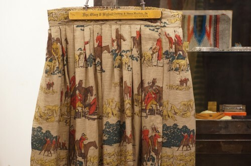 70's riding printed silk Skirt