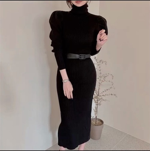 belt high neck dress