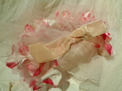 Pink flower dress hat ピンク フラワー チュール ドレスハット