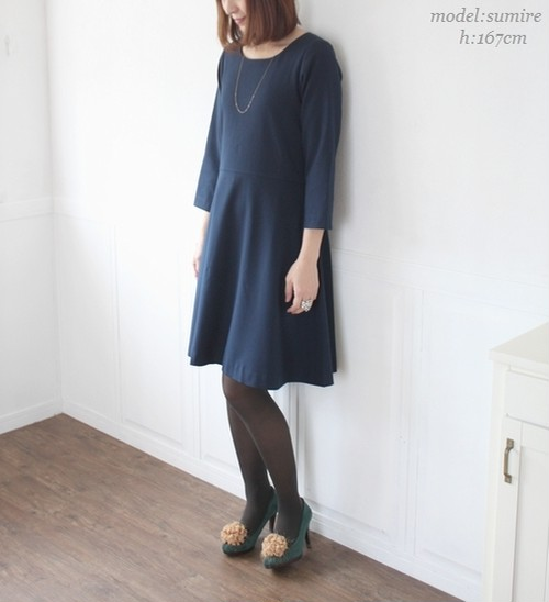 【Lサイズ】切り替え ワンピース ネイビー 紺色 affetto ハンドメイド
