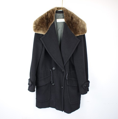 .MAX MARA MINK FUR COLLAR CASHMERE BREND WOOL OVER COAT/MADE IN ITALY/マックスマーラ白タグミンクファー付カシミヤ混ウールオーバーコート 2000000043319