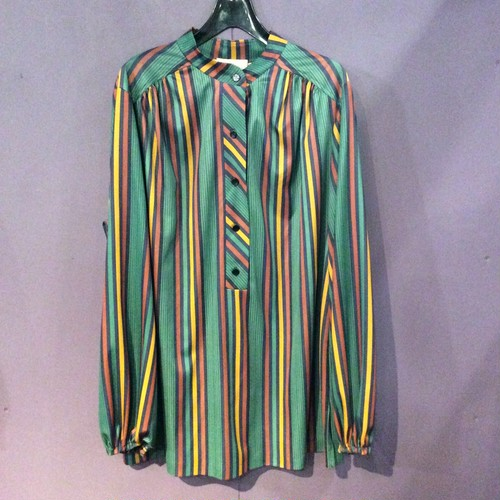 70'S green stripe pullover blouse[B1474]