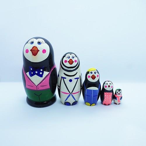 再入荷【ロシア】 動物さんマトリョーシカ ペンギン家族 5P ミニサイズ 10cm