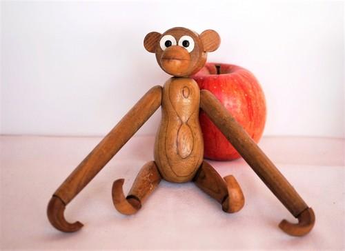 ヴィンテージ 猿の木製人形 デンマーク 木製玩具 リプロダクト カイボイスン B