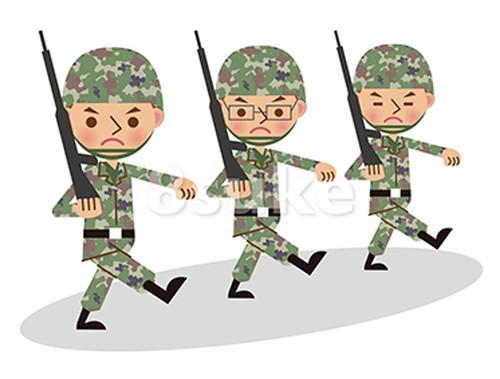 イラスト素材:銃を担いで行進する自衛官・軍人/3人(ベクター・JPG)