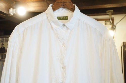 80's ESPRIT white embroidered cotton Blouse