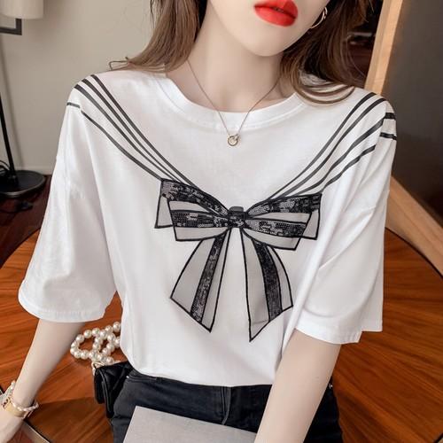 2色/リボン刺繍&スパンコールTシャツ ・16464