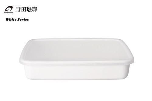 【野田琺瑯】ホワイトシリーズ / レクタングル浅型 L(シール蓋付)