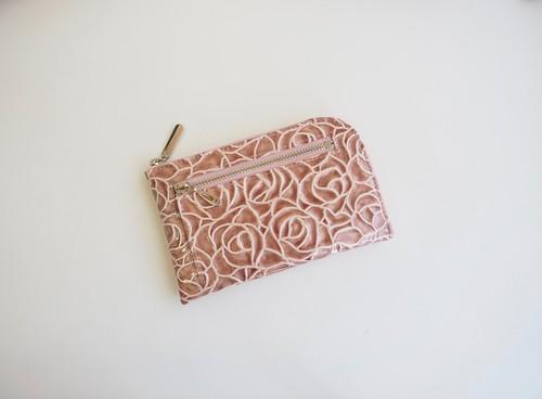 薄くて軽いコンパクトな財布 10枚カードポケット エナメルローズ ローズピンク  スクイーズ