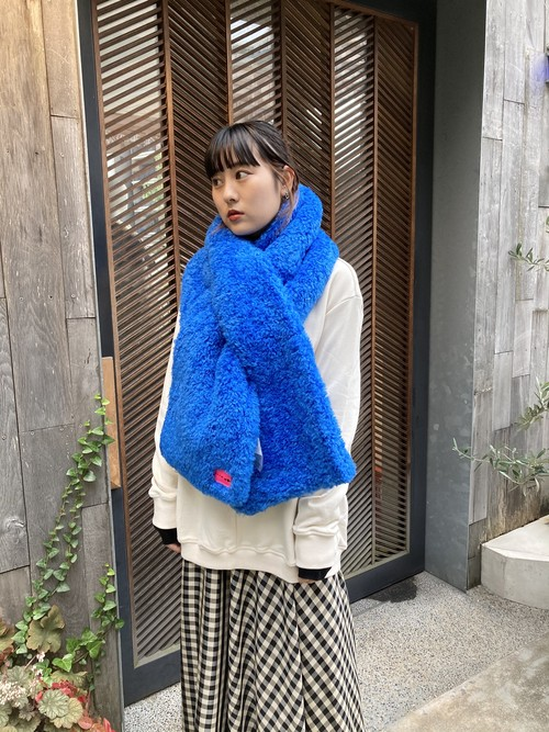【20AW】OOF オーフ / Scarf 3007 in blue curly pile faux fur