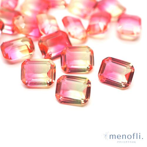 1pc 長方形 グラデーション ピンク・イエロー 10*8 チャイナガラス ラインストーン グラスストーン