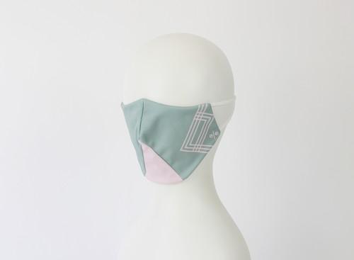 % PERCENT マスク(グリーン・ピンク)ふつうサイズ 濡らして冷んやりクールマスク サイズ調整 抗菌 抗ウイルス 立体マスク