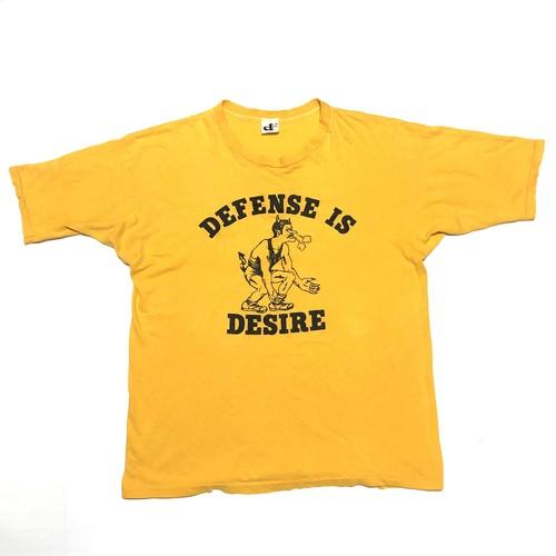70-80's DOWNERWEAR ビンテージ デビル モンスタープリント USA製 Tシャツ(カラシ,XLサイズ表記)