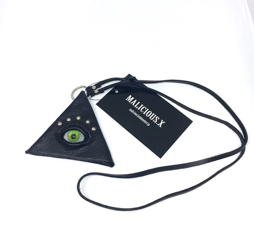 eye  triangle coin case / green