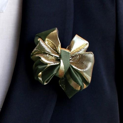 西陣織ブローチ   深緑×ゴールド03