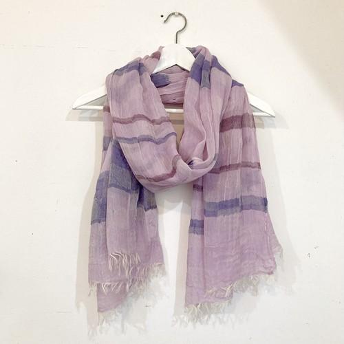 【青いとり】播州織ストール(purple × blue × wine)コットンLsize