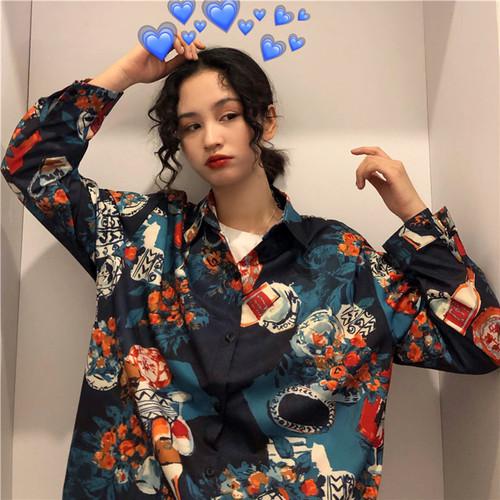 【トップス】レトロシングルブレストプリントPOLOネックシャツ27023897
