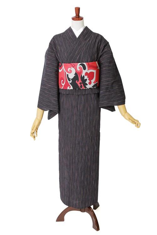 遠州木綿 布はし紬 絣縞 単衣きもの 仕立て上がり №10 ブラック
