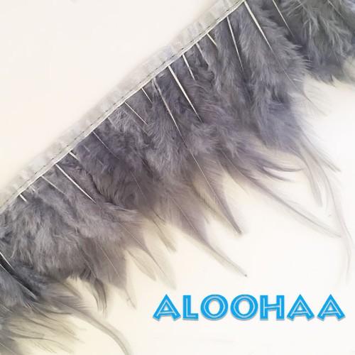 フェザーロール【グレー】単色10-15cm丈 1m DIY 羽 衣装材料 タヒチアン
