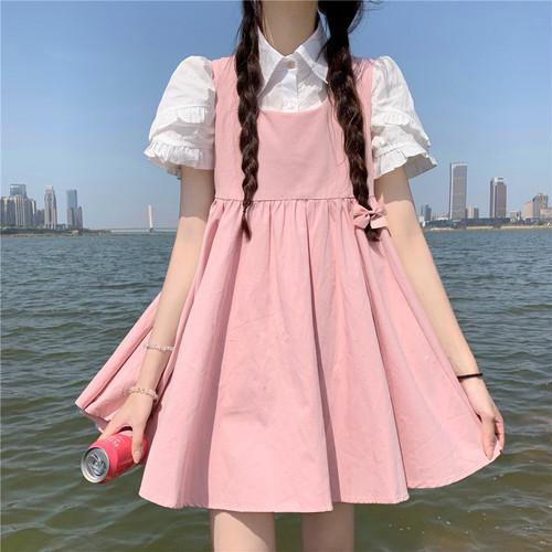 【2点セット】2色/ペタル袖シャツ+ジャンスカ ・15796