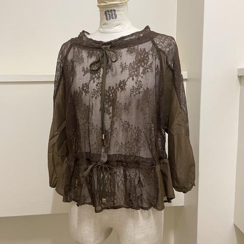 【RehersalL】lace ribbon blouse(brown) /【リハーズオール】レースリボンブラウス(ブラウン)