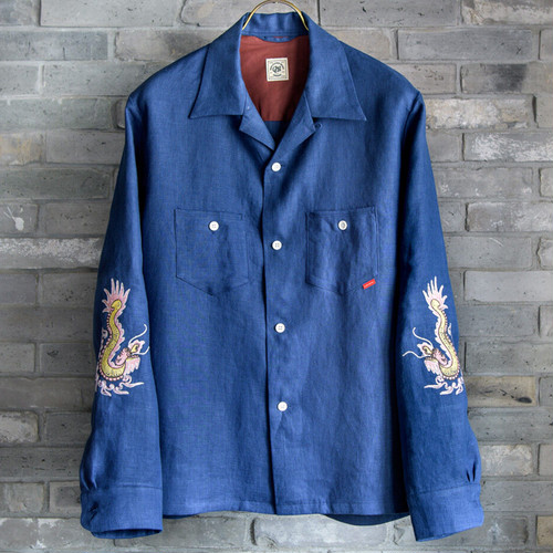 OPEN COLLAR SHIRTS <JAPAN-LINEN>  -FUNNY DRAGON- (DARK-BLUE) / GERUGA