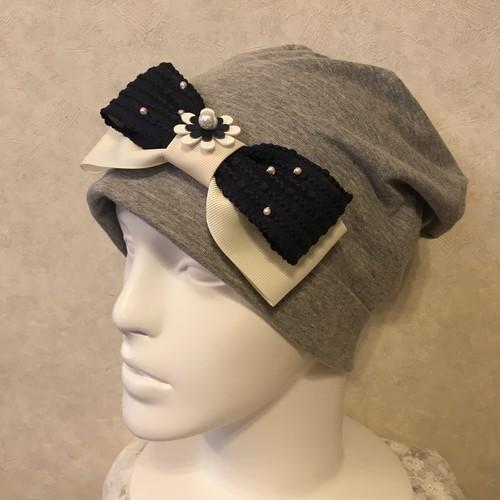 ポップコーンリボンのケア帽子 ライトグレー
