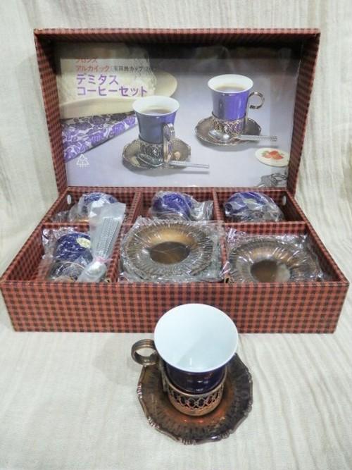 有田焼カップ使用 ブロンズアルカイック デミダスコーヒーセット 5客組 スプーン付き レトロモダン アンティーク 和モダン