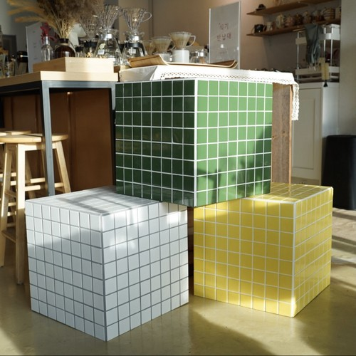 vintage st. tile cube side table 3colors / ヴィンテージ レトロ タイル キューブ サイドテーブル ブロック 陳列 韓国 北欧 インテリア 雑貨