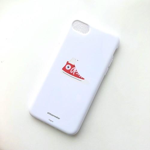 柴スニーカー(白柴)ソフトケースiPhone7/8用