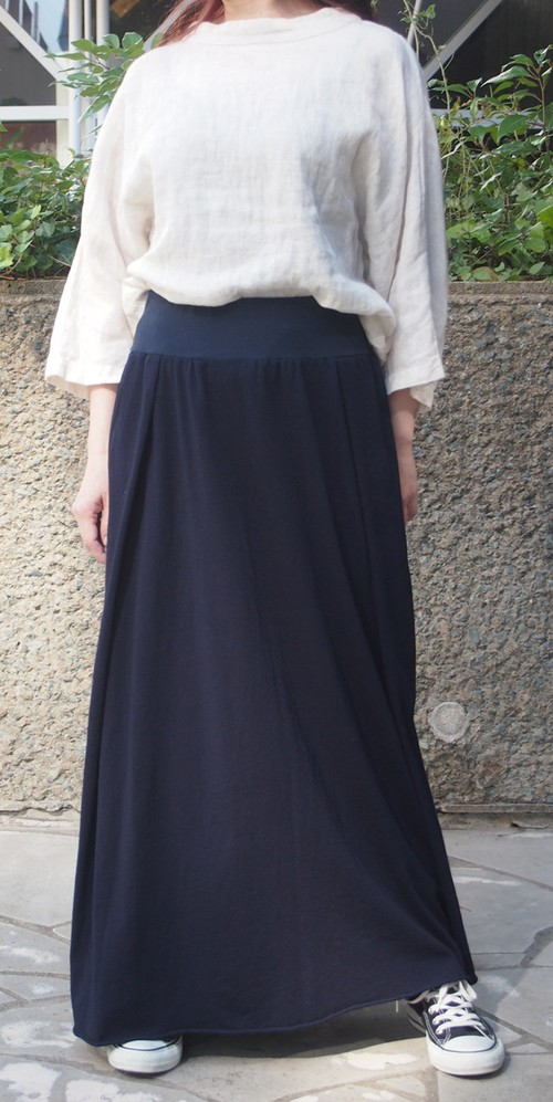 藍染 スカート マキシ丈