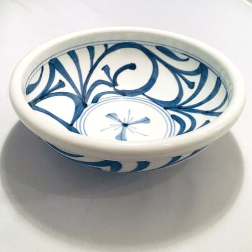 【砥部焼/梅山窯】7寸玉縁鉢(唐草)