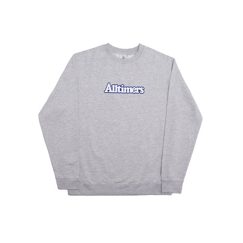 ALLTIMERS BROADWAY EMBROIDERED CREW HEATHER GREY