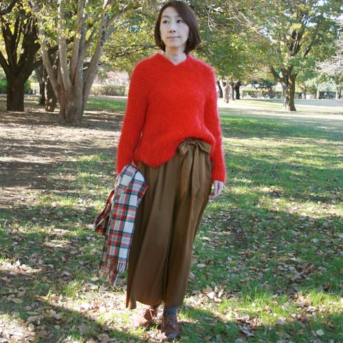 手編みゴム編みキッドモヘア セーター