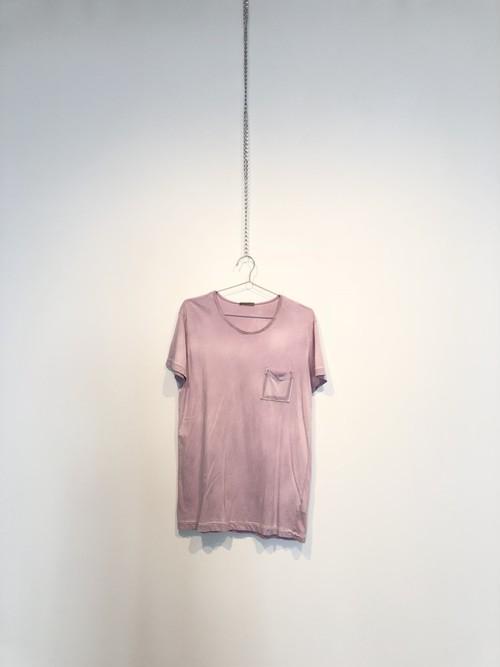 【USED】BOTTEGA VENETA ライトパープル胸ポケット半袖Tシャツ jwtvt0001