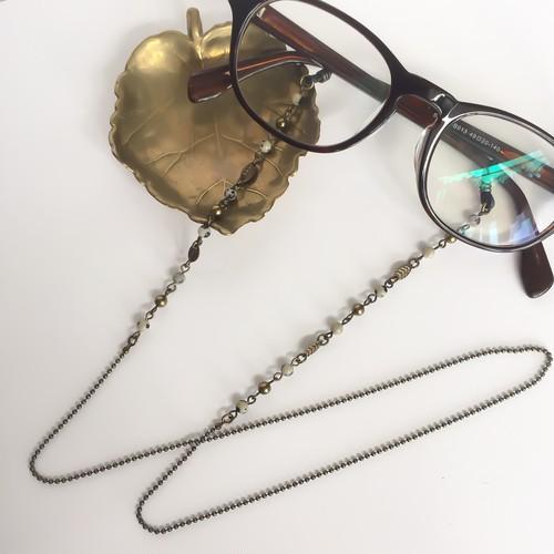 【Atelier Amie】天然石を使用したグラスコード(メガネチェーン)ダルメシアンジャスパー