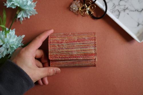 着物の染色技法で革を染めた三つ折りミニ財布 no,17