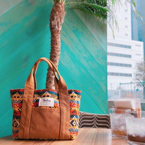 Camp Tote bag S - Camel / Red