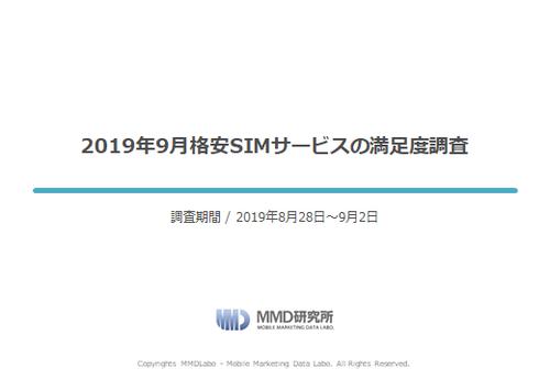 【MMD研究所自主調査】2019年9月格安SIMサービスの満足度調査