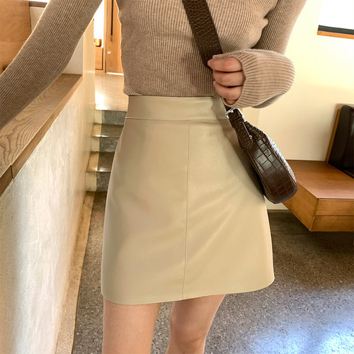 colour leather short skirt 4c's