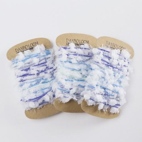 織り用たていと004 引き揃えふわもこブルー×ホワイト 3個セット