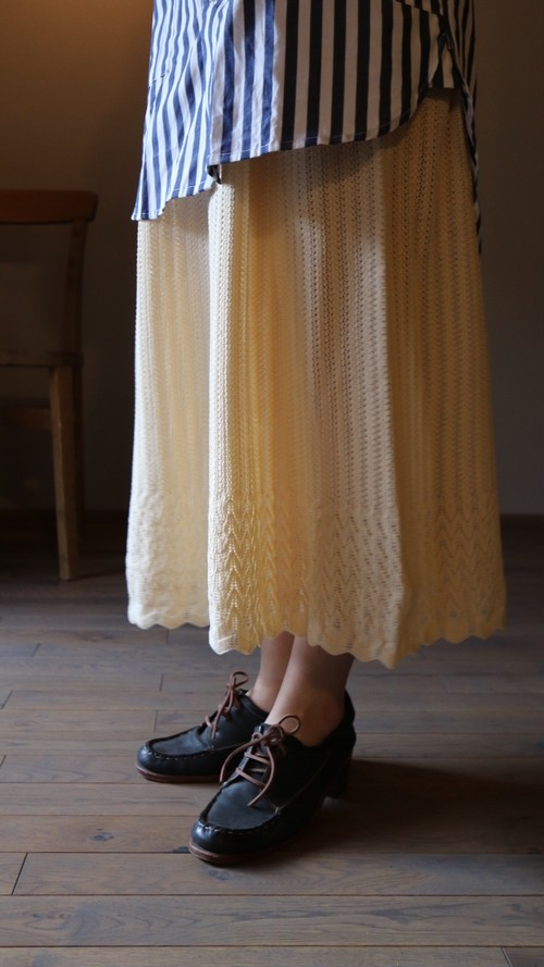 ASEEDONCLOUD/アシードンクラウド Knit lace skirt  / ニットレーススカート ivory  #201802