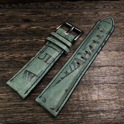 FLUCO フルーコ Horween Shell Cordovan Reversed ホーウィン シェルコードバン リバースド 馬革 20/22mm  グリーン 腕時計ベルト