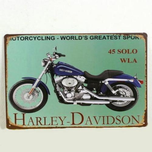 【ブリキ看板】ハーレーダビッドソン・45 SOLO WLA 紺 小型版[B24123]