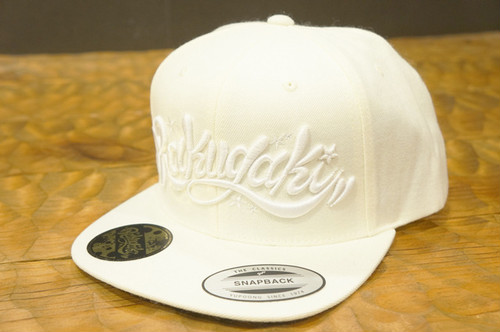 "RAKUGAKI Main logo Snap Back Cap ""Snow White Edition"""