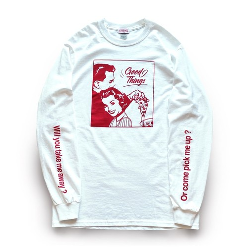 Season of love Long T-shirts ( White Red )