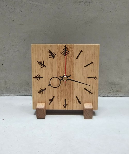 クリの木の時計 枝文字 12×12cm