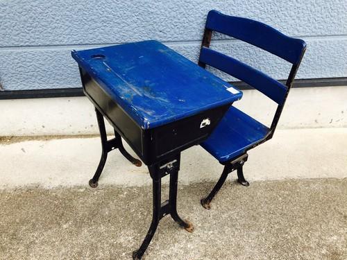品番2628 スクールデスクセット 学習机セット ブルー 子供用 机 椅子 ヴィンテージ