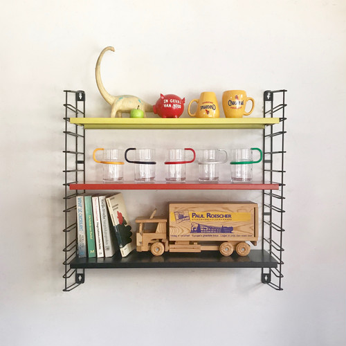 """TOMADO"" Metal Wall Shelving Design by A. D. Dekker 1960's オランダ BLK/Yellow/Red"