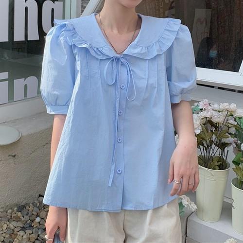 2色/フリルリボンボタンシャツ ・15626